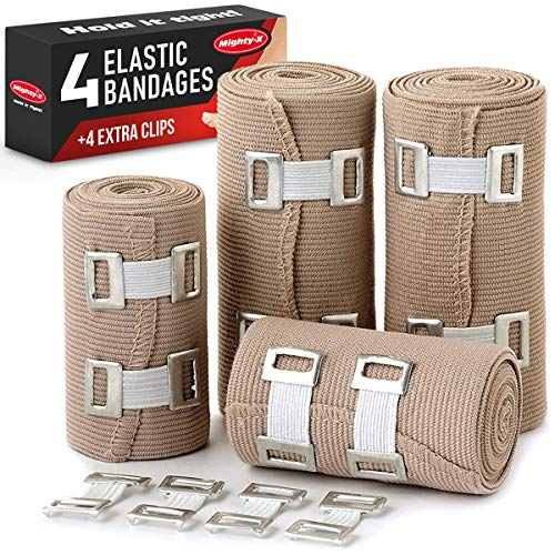 Elastic Bandage Wrap Compression Tape - 4 Compression Bandages + 4 Extra Clips - Compression Bandage - Ankle Wrap for Sprain - Compression Wrap - Compression Bandage - Athletic Wrap - Bandage Roll