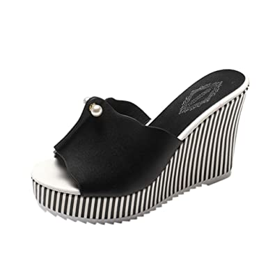 df555b29a0 Sandals Ladies Jamicy Wedge Slippers Summer Striped Pearl Platform High  Heels Slope Shoes (35,
