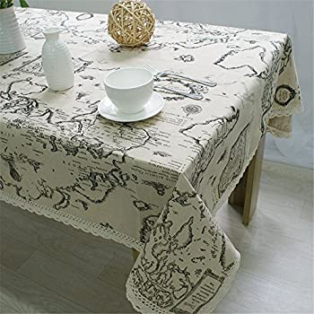 Amazon world map style table cloth home kitchen superwinger world map table cloth lace cotton linen tablecloth decorative elegant table coverassorted size gumiabroncs Choice Image