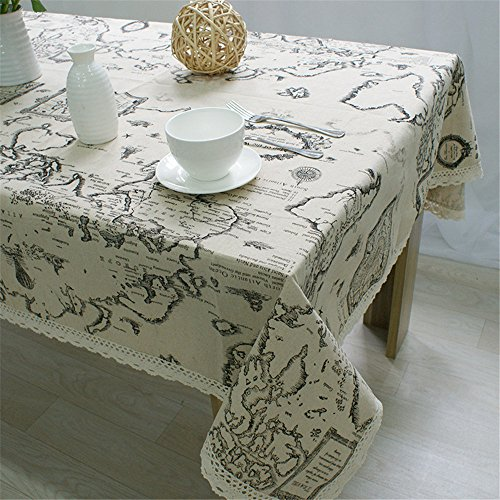 Superwinger World Map Table Cloth Lace Cotton Linen Tablecloth Decorative Elegant Table Cover,Assorted Size