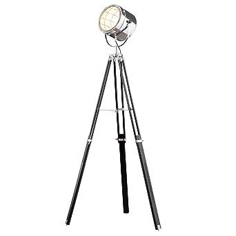 Vintage Stehleuchte TRIPOD Chrom Schwarz 145 Cm E27 Schwenkbar Stehlampe Dreibein Wohnzimmerlampe