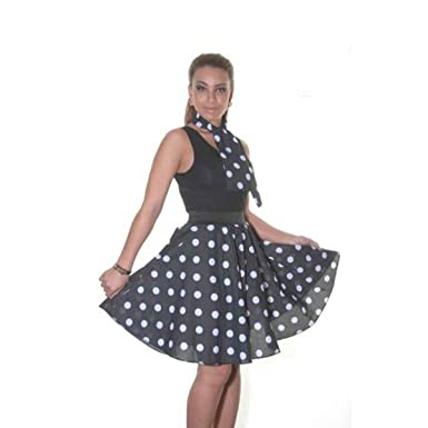 4ba7be5f765c Red,Black,Pink Polka Dot Skirt Ladies Fancy Dress Rock Roll 50s Womens  Adult 1950s Costume (22 inch): Amazon.co.uk: Clothing