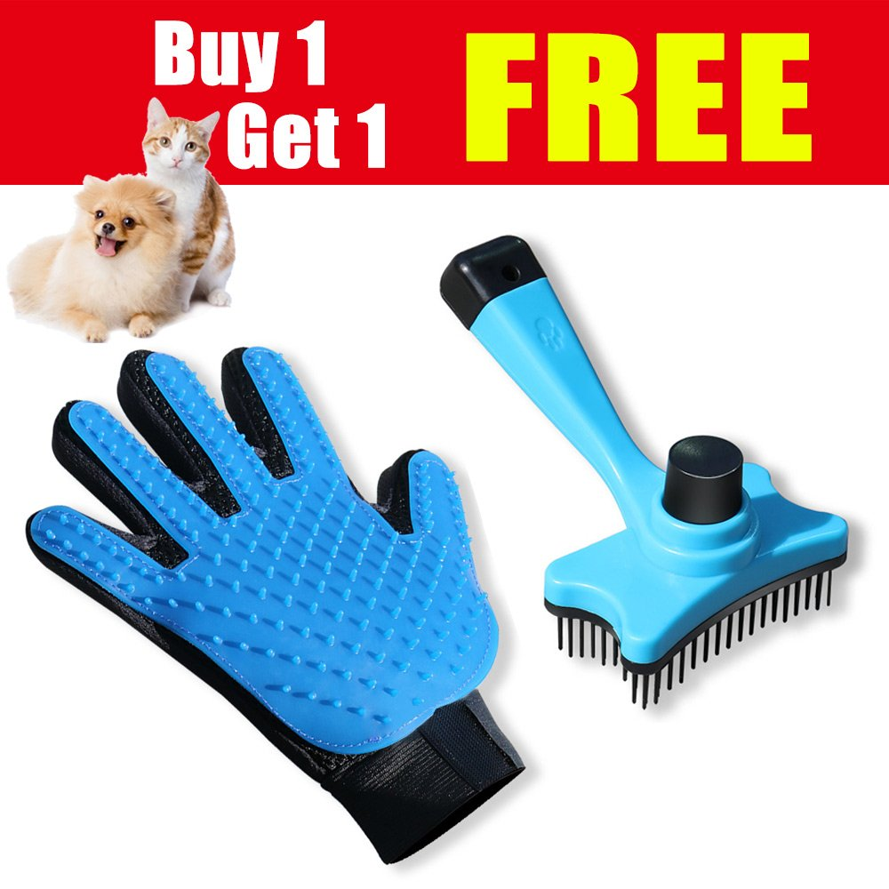 SMIAOER Pet Grooming Glove & Pet Grooming Brush for Dog cat Small Animal pet Comb Glove Brush SAYGOGO