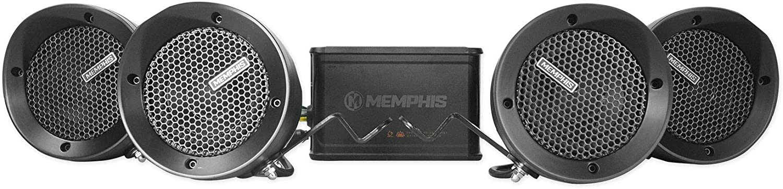 MEMPHIS MXABMC4 CHROME ATV UTV MOTORCYCLE 4 BULLET SPEAKERS 4-CHANNEL AMPLIFIER