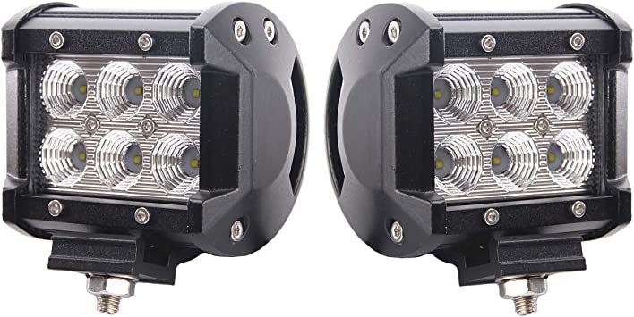 2X 4inch 18W LED Work Light Bar Flood Driving Fog Offroad SUV Cube Pods 4WD Boat