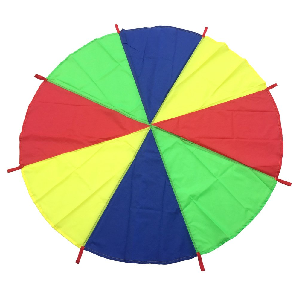 crayfomo 6.6 Foot Play Parachute with 8 Handles, Best Gift for Kids Play Group Games