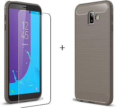 LJSM para Samsung Galaxy J6 Plus 2018 / J6+ Funda Gris Fibra de ...