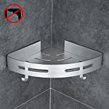 Kyпить Gricol Bathroom Shower Shelf Triangle Wall Shower Caddy Space Aluminum Self Adhesive No Damage Wall Mount (silver) на Amazon.com