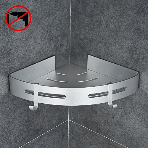 Gricol Bathroom Shower Shelf Triangle Wall Shower Caddy Space Aluminum Self Adhesive No Damage Wall Mount (Silver) by Gricol