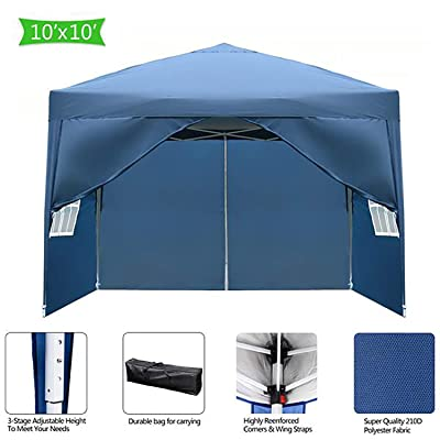 Hopekings 10'x10' Canopy Tent Outdoor Patio Gazebo BBQ Commercial Instant Shelter Folding Tent with 4 Removable Sides Walls, Carry Bag (Blue) : Garden & Outdoor
