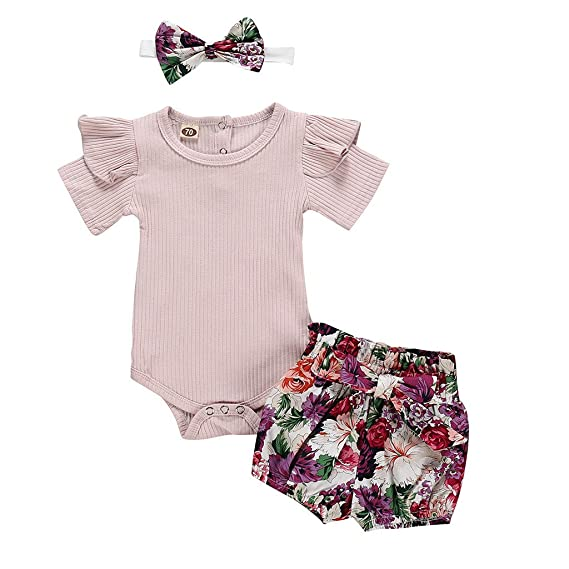 best quality ff03b fcf80 LEXUPE Neugeborene Kinder Baby Mädchen Outfits Kleidung Strampler Bodysuit  + Flower Print Shorts Set(Lila,90)