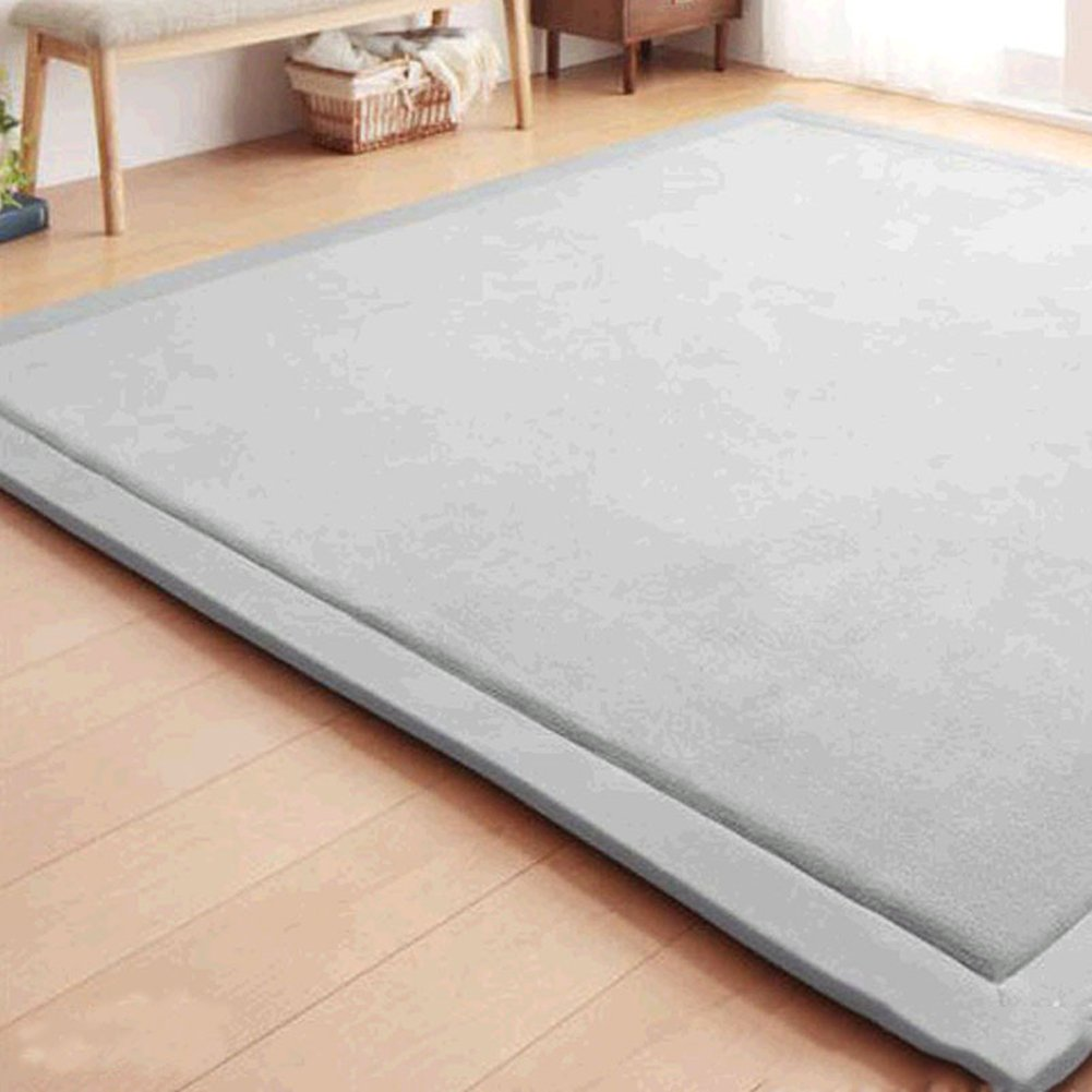Japanese Thicken Coral Velvet Carpet Children Crawling Mat Tatami Mat Living Room Bedroom Mat Area Rug, MAXYOYO Soft Tatami Carpet Pad, 75 by 94 inch