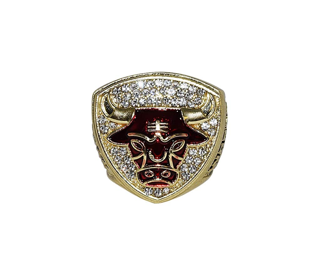 CHICAGO BULLS (Michael Jordan) 1993 NBA FINALS WORLD CHAMPIONS (3 Peat Champs) Vintage Collectible High Quality Replica NBA Basketball Gold Championship Ring with Cherrywood Display Box
