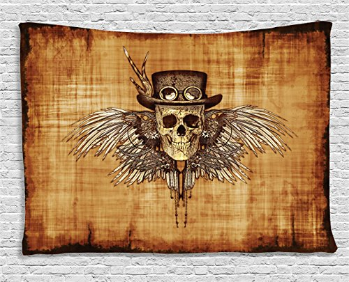 - Ambesonne Skulls Decorations Collection, Cool Skull Icon on Parchement Background Retro Style Dead on Eagle Wings Gothic, Bedroom Living Room Dorm Wall Hanging Tapestry, 80 X 60 Inches, Brown Orange