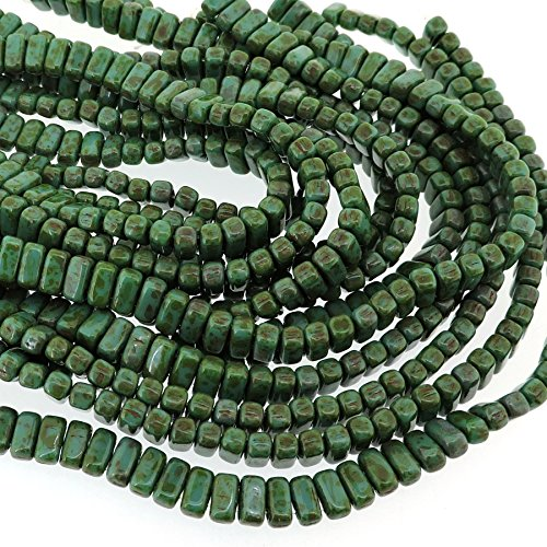 Czechmate 2mm X 6mm Brick Glass Czech Two Hole Bead - Persian Turquoise Picasso (50 beads) - Glass Bead Bricks
