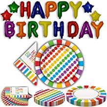 Birthday party Decorations and Supplies for 16 guests. 13 + 4 Piece Balloon Banner, large plates, Small Plates, Napkins, multiColored Rainbow Theme