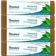 Himalaya Whitening Toothpaste - Simply Mint 5.29 oz/150 gm (4 Pack), Natural, Fluoride-Free & SLS Free
