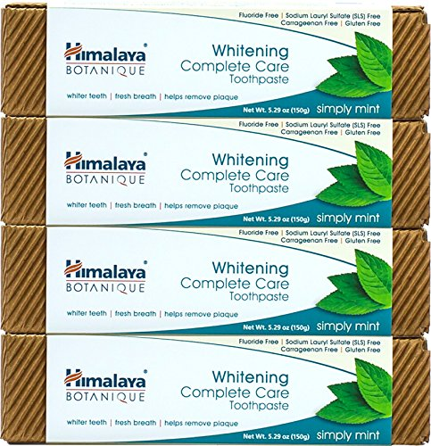 Himalaya Whitening Toothpaste - Simply Mint, Natural, Fluoride-Free, SLS Free, Carrageenan-Free & Gluten-Free, 5.29 oz (150 g), 4 PACK (Best Way To Remove Brown Stains From Teeth)