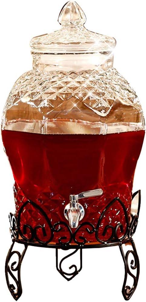 Commercial Beverage Dispenser With Base - Glass Juice Beverage Dispenser - Embossed Design - Stainless Steel Faucet - Glass Kettle (6l ~ 10l)