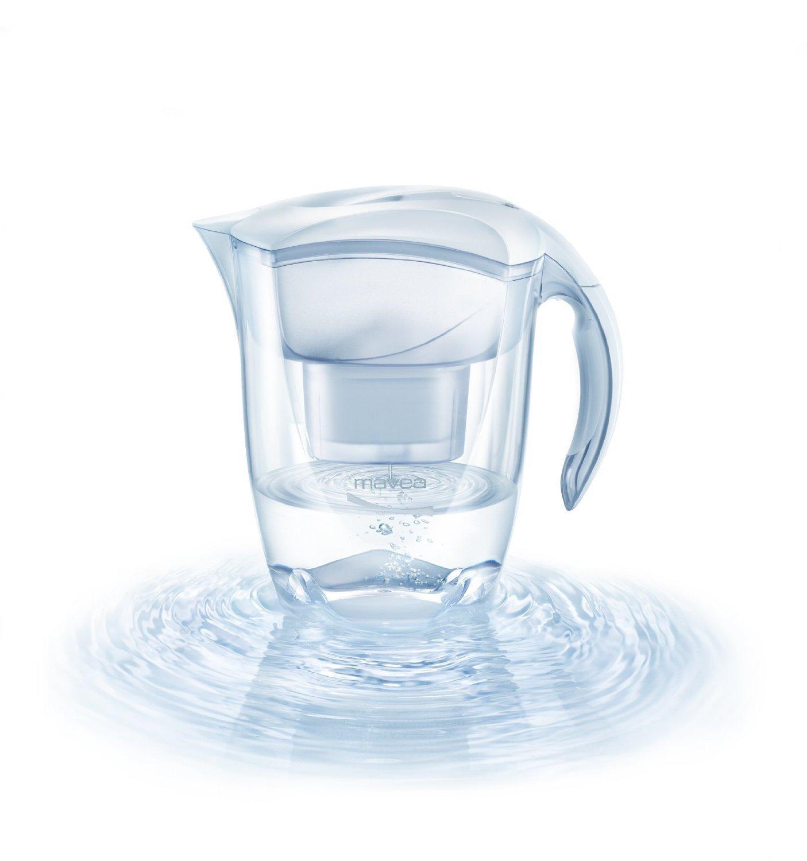 MAVEA 1001126 Elemaris XL 9-Cup Water Filtration Pitcher, White