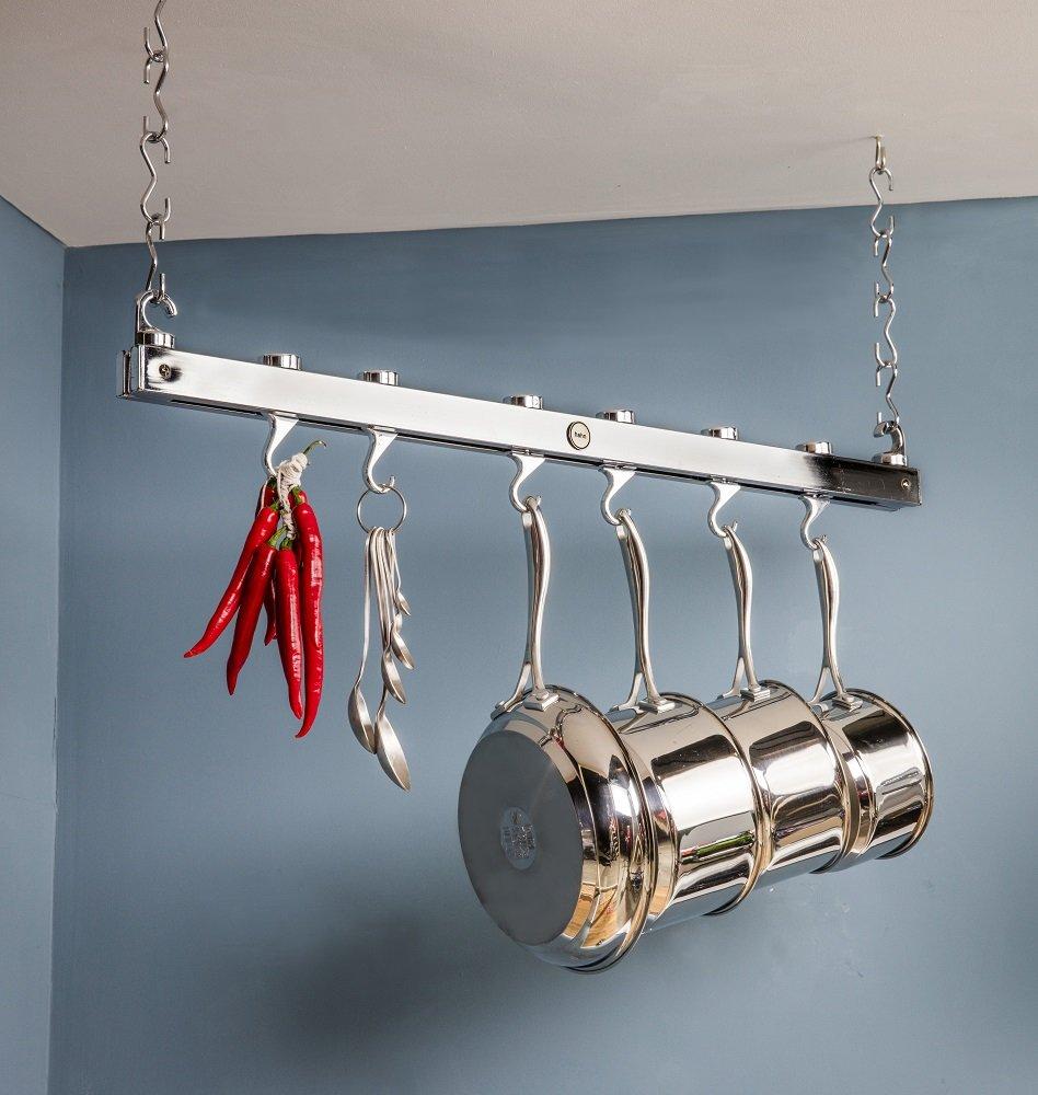 Hahn - Colgador de techo para sartenes y cacerolas, cromado: Amazon.es: Hogar