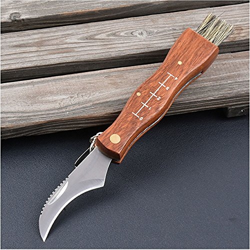 Mushroom Knife, Fungus Knife, Folding Camping Hunting Truffles Harvest Sharp Knives Natural Wood Handle Pocket knife w/ Bristle Brush, SS pruning blade, Hardwood handle
