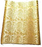 """1pcs Embroidered Gold African Fabric Solid African Fabric Sego Gele for Headtie, Head Gear, Men's Hat. 2.5 Yards By 18"""" …"""