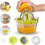 Lashary Lemon Squeezer, Manual Hand Lemon Juicer, Orange Citrus Juicer with Built-in Measuring Cup, 4 in 1 Multifunctional Lime Squeezer Manual Juicer with Multi-Size Reamers and Ginger Garlic Grater