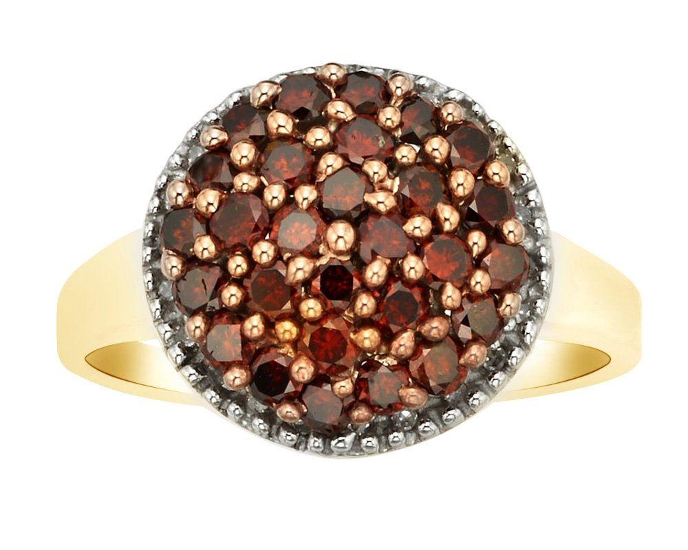 Round Shape Red Natural Diamond Cluster Promise Ring In 14K Yellow Gold Over Sterling Silver (1 Cttw),Ring Size-10.5