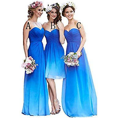 BanZhang Womens Long Bridesmaid Dresses Gradient Color Ombre Cheap Prom Plus Size B348 Blue ...