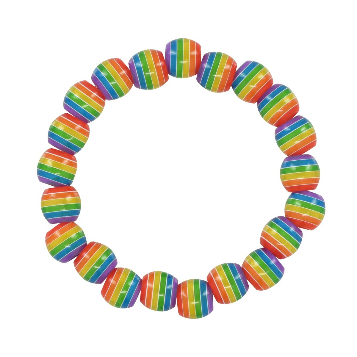 Gay Pride Rainbow Striped Beaded Bracelets (25 Bracelets - Individually Bagged) by Fundraising For A Cause (Image #1)