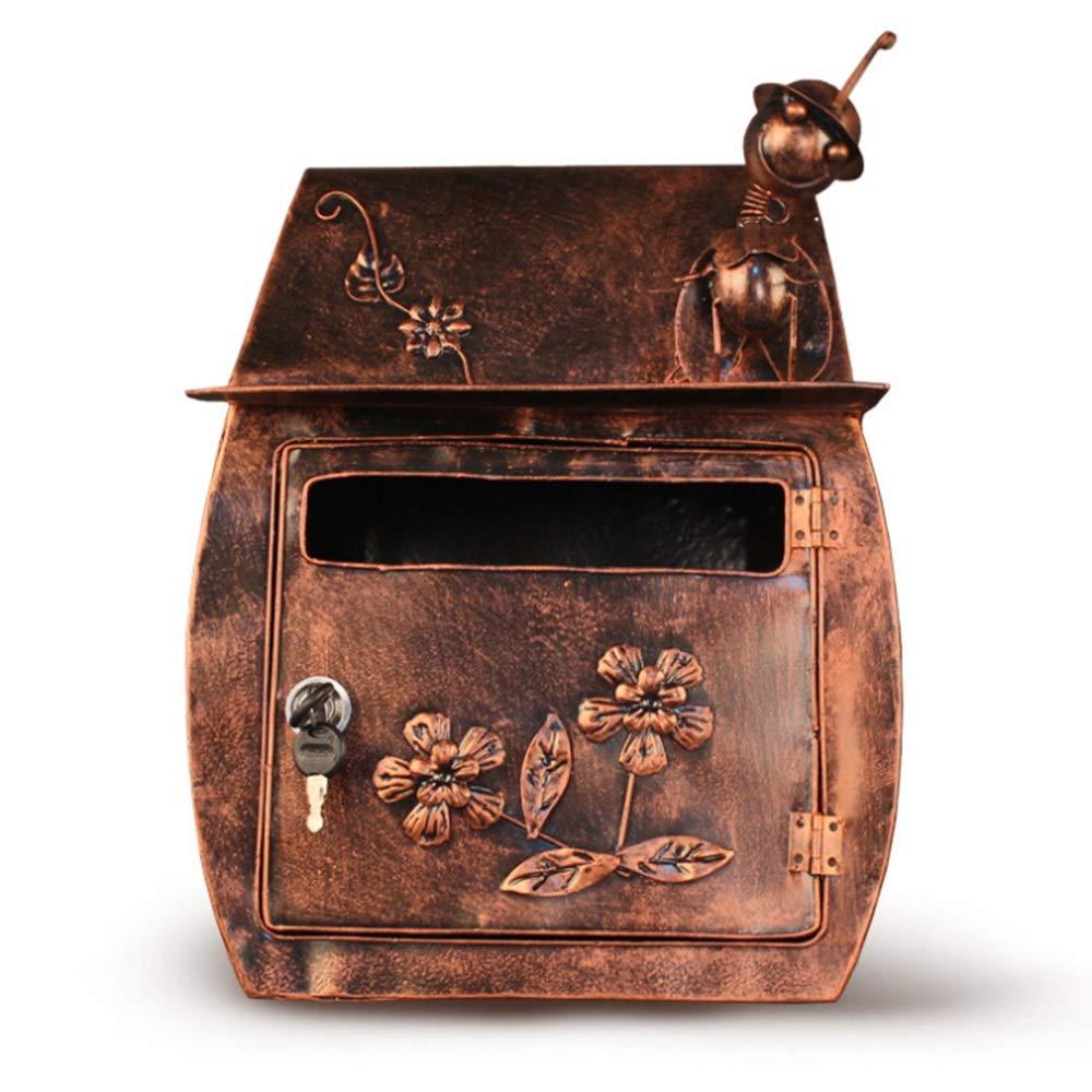 DS-ドンシェンショップ 郵便箱 - アイロン、家の装飾手作りのクリエイティブな昆虫レトロメタル防水壁にマウントされた郵便箱、ヴィラ、中庭、家庭に適して - 利用可能な2色 && (色 : ブロンズ)  ブロンズ B07K18SW7Y