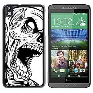 Caucho caso de Shell duro de la cubierta de accesorios de protección BY RAYDREAMMM - HTC DESIRE 816 - Zombie Cráneo gótico B & W