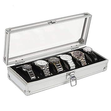 JoyFan 6/12 Rejilla Ver la caja de almacenamiento para joyas Ver caja porta relojes para pulseras con porta cojines 26 * 21 * 6cm 6 Slot: Amazon.es: Hogar