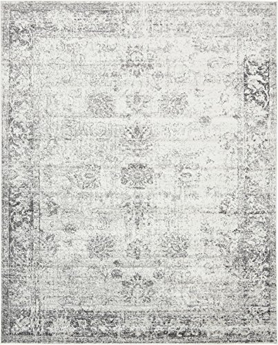 (Gray 8' x 10' FT Canterbury Rug Modern Traditional Vintage Inspired Overdyed Area)