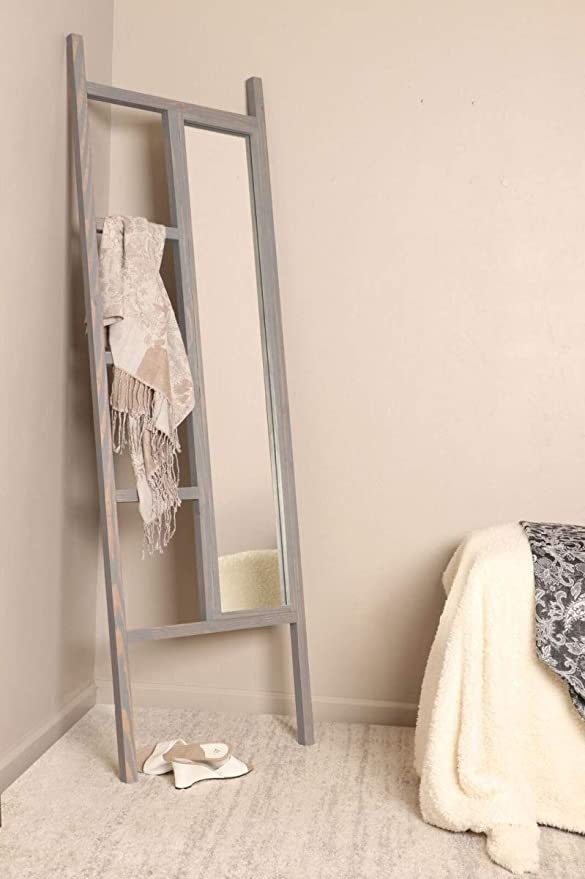 Amazon Com Brandtworks Weathered Gray Leaning Mirror Ladder 23 25