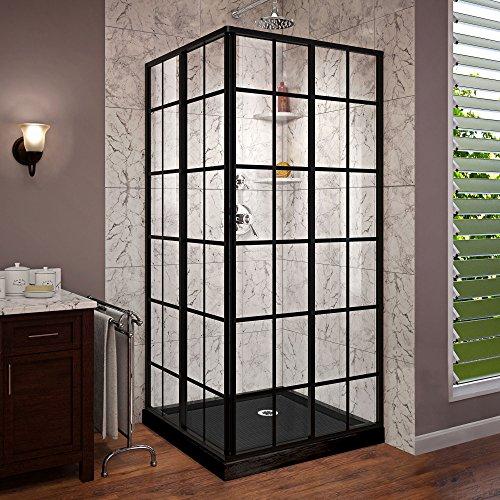 - DreamLine French Corner 36 in. x 36 in. Framed Sliding Shower Enclosure in Satin Black with Corner Drain Black Acrylic Base Kit, DL-6789-09