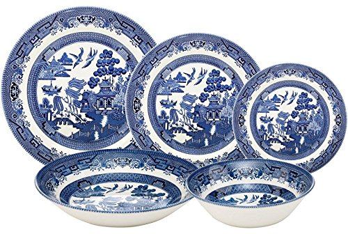 - Churchill Blue Willow 30 Piece Dinner Set