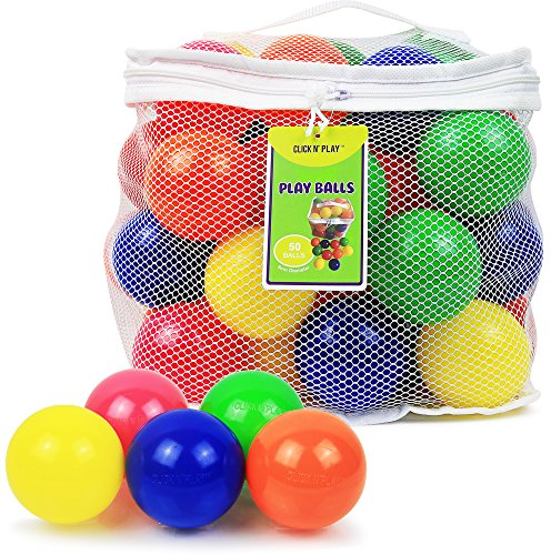 Click N' Play Pack of 50 Phthalate Free BPA Free Crush Proof Plastic Ball, Pit Balls - 6 Bright Colors in Reusable and Durable Storage Mesh Bag with - Bag Pit Play Plastic Of