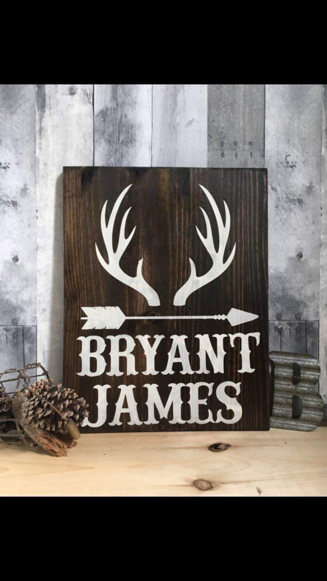 B01N3XUO5B little man deer antler sign, rustic nursery décor, woodland nursery, deer nursery, wood animals nursery, rustic baby shower, arrow baby bedding 61X4gKVVEPL
