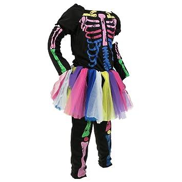 MagiDeal Chica Esqueleto Huesos Infantil Disfraz Completo Disfraz ...