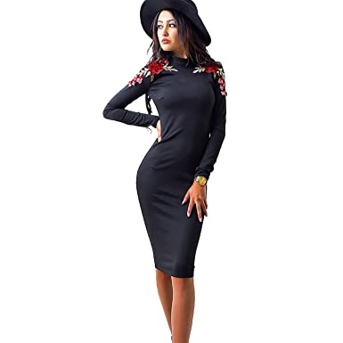 b777a0622b Elevesee Women s Elegant Long Sleeve Wear to Work Business Cocktail Pencil  Dress Black Small