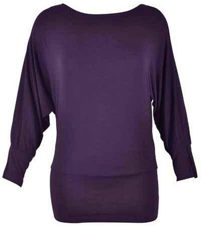 janisramone New Womens Ladies Batwing Long Sleeve Top Jumper Plus On//Off Shoulder