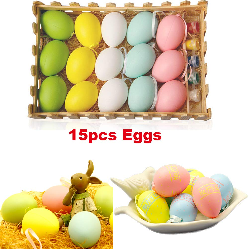 Zah diy easter eggs toys kit funny drawing painting eggs set for boys girls kids easter decor home decoration ornaments props gift 15pcs plastic eggs