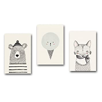 Jewh (1 pecie Frameless Nordic Art Bear Fox Canvas Poster - Painting Cartoon Animal Wall