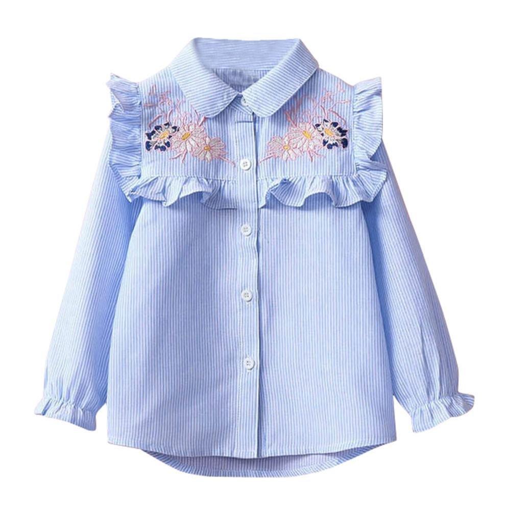QUICKLYLY Blusas y Camisas Niña Manga Larga Niñito Raya Bordado Floral: Amazon.es: Ropa y accesorios