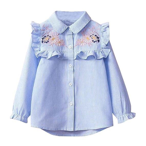 QUICKLYLY Blusas y Camisas Niña Manga Larga Niñito Raya Bordado Floral (Azul, 3 Años