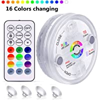 KJOY 1Pcs Submersible LED Lights with RF Remote, Magnets, Suction Cups, Battery Operated IP68 Waterproof Underwater Light, 13LED 16 Color Changing Pond Lights for Inground Aquarium Fountain Vase