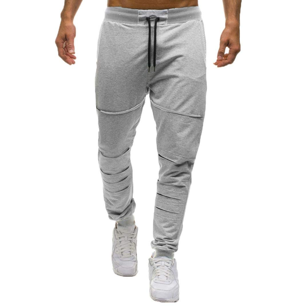 Realdo Hot!Clearance Mens Daily Sport Fitness Trousers Solid Pleated Casual Jogger Pants Sweatpants(XX-Large,Gray)