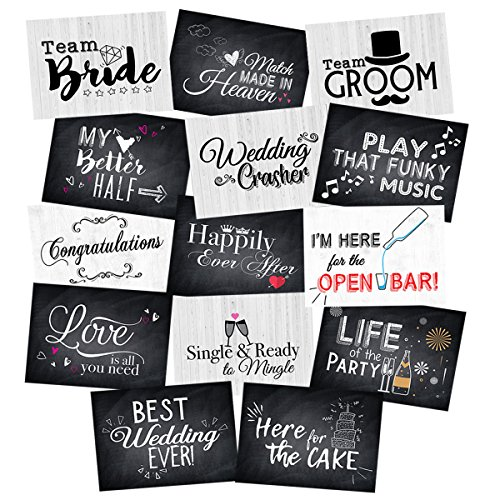 Wedding Photo Booth Double-Sided Jumbo Sized Cards, Prop Accessories Party Signs Kit- 14 Designs -